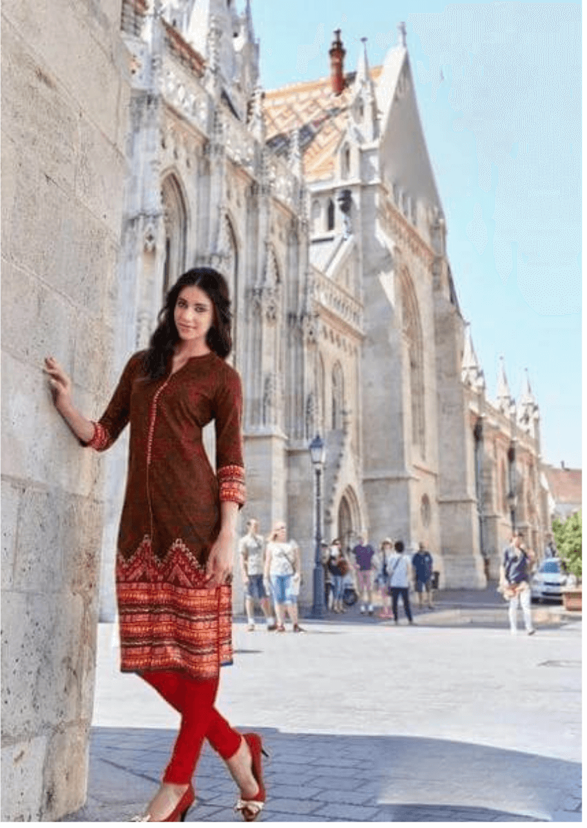 Dark Brown Printed Kurti