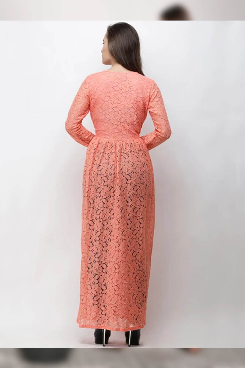 Coral Pink Self Design Longline Tunic