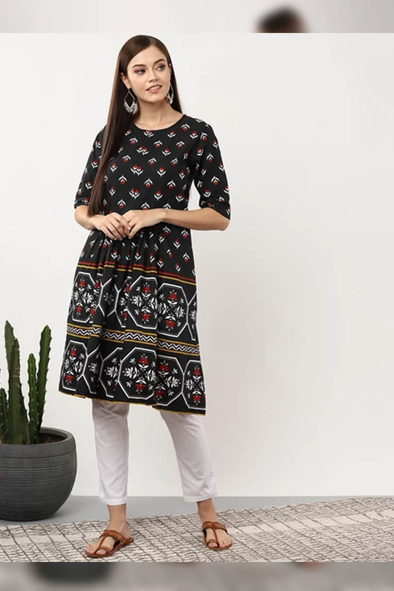 Women Navy Blue & White Printed Tunic