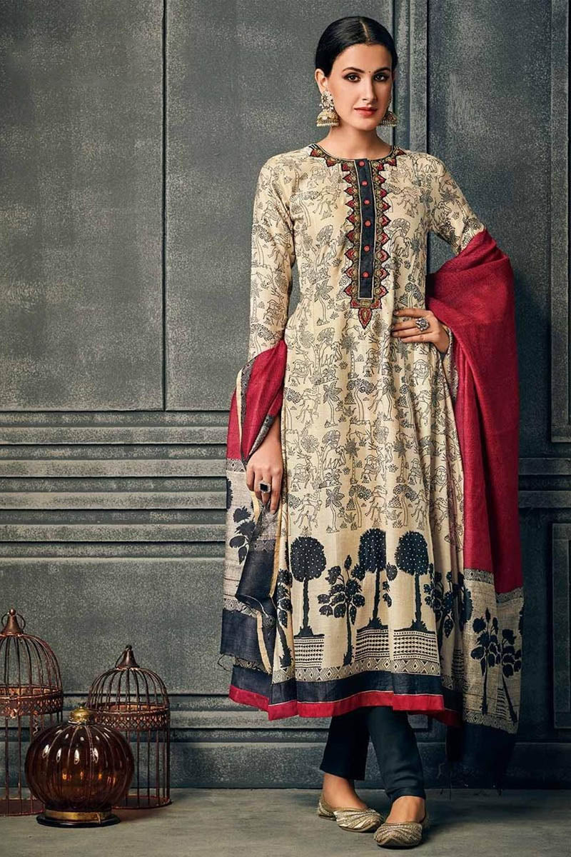 Cotton Designer Printed Long Kurti With Dupatta in Beige Colour