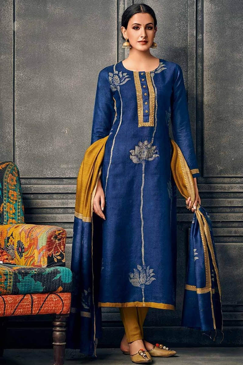 Cotton Designer Printed Long Kurti With Dupatta in Dark Blue Colour