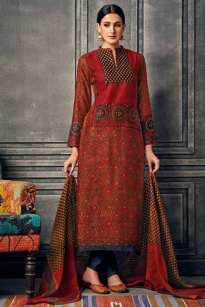 Cotton Designer Printed Long Kurti With Dupatta in Dark Red Colour