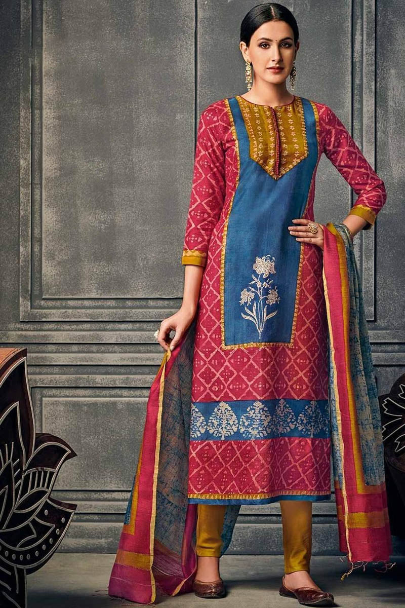 Cotton Designer Printed Long Kurti With Dupatta in Pink with Blue Colour