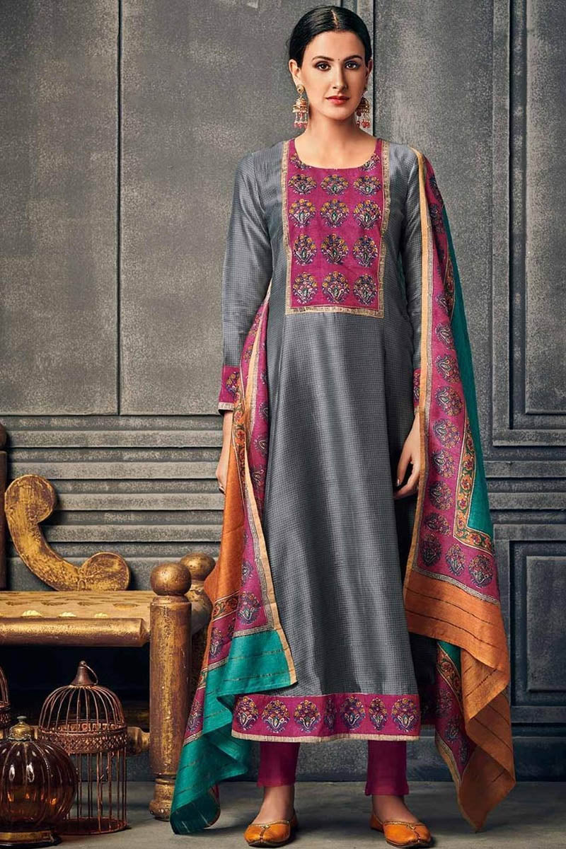 Cotton Designer Printed Long Kurti With Dupatta in Grey Colour
