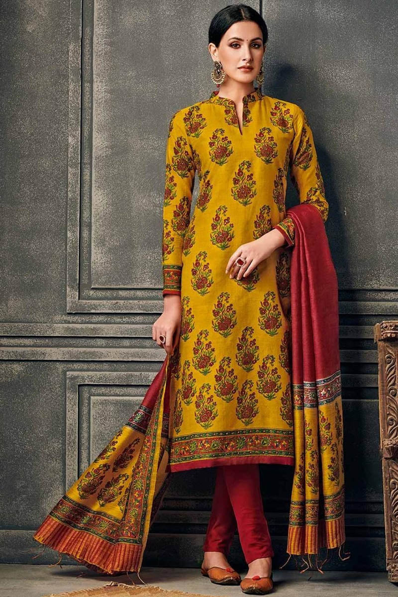 Cotton Designer Printed Long Kurti With Dupatta in Dark Yellow Colour