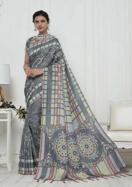 Grey Pashmina Silk Saree with Multicolour Touch