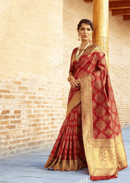Designer Ikkat Traditional Red Color Saree