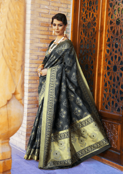 Designer Ikkat Traditional Black Color Saree