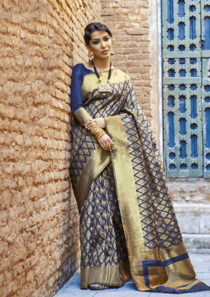 Designer Ikkat Traditional Navy Blue Color Saree