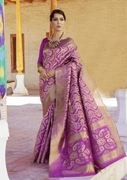 Designer Ikkat Traditional Purple Color Saree