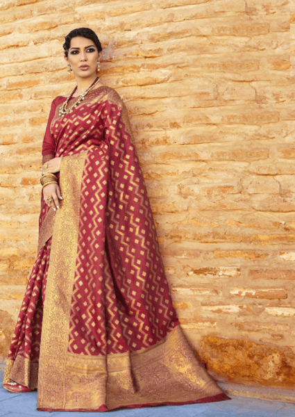 Designer Ikkat Traditional Maroon Color Saree
