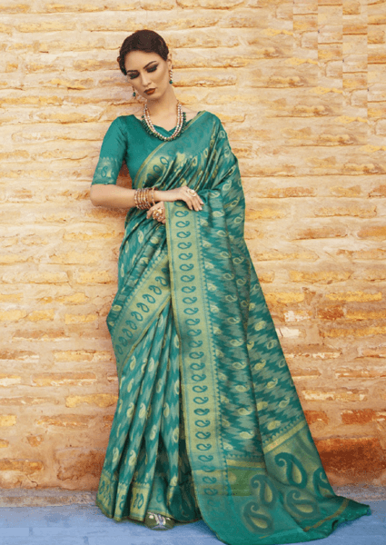 Designer Ikkat Traditional Aqua Green Color Saree