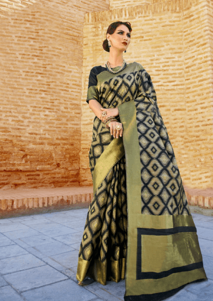 Designer Ikkat Traditional Black and Gold Color Saree