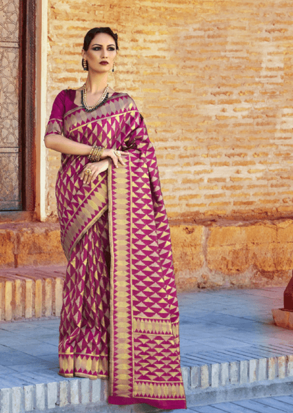 Designer Ikkat Traditional Dark Pink Color Saree