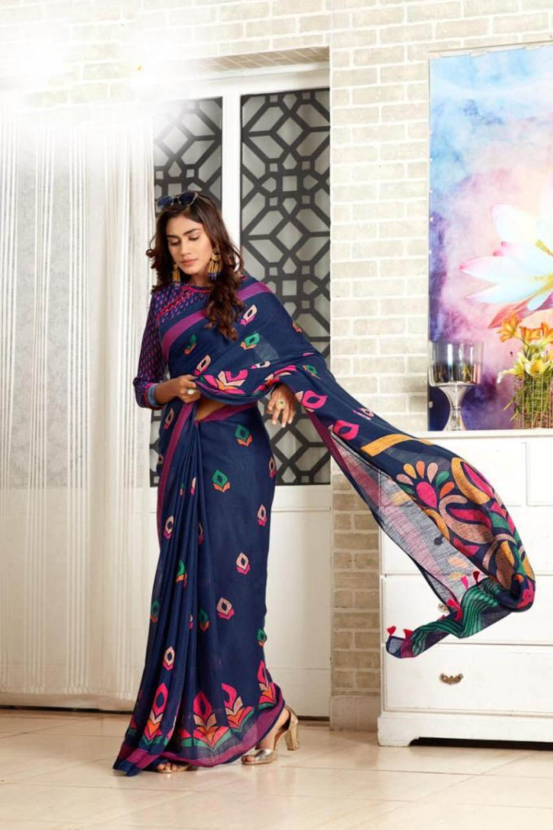 Designer Wear Casual Pure Linen Saree In Navy Blue Colour