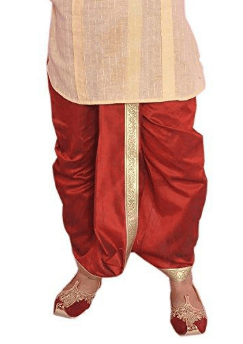 Men's Polyester Dupion Lace Embroidered Dhoti (Maroon)