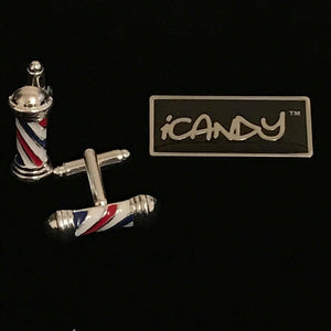 iCandy Barber Pole Cufflinks Set - iCandy Scissors