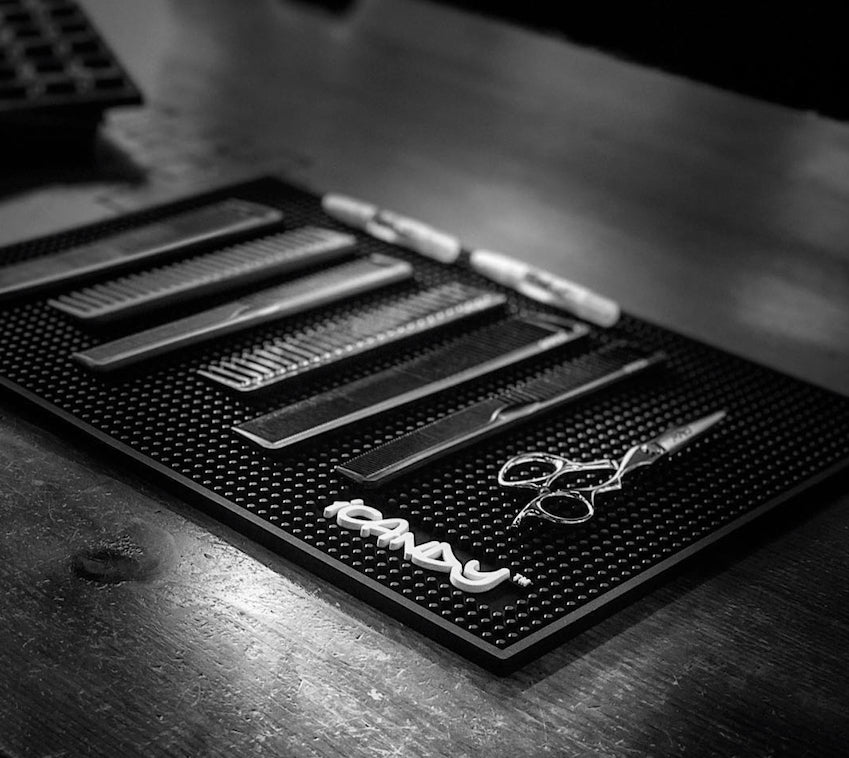 iCandy Black Workstation Counter Top Barber Mat Lifestyle Image Pic1