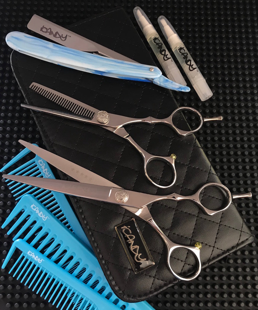 iCandy Aphrodite 7.0 - Reverse-T 5.75 Barbering Scissors Bundle
