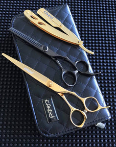 iCandy Taper Pro 7.0 & Elite-T Midnight 6.0 Hairdressing Barbering Scissors Bundle