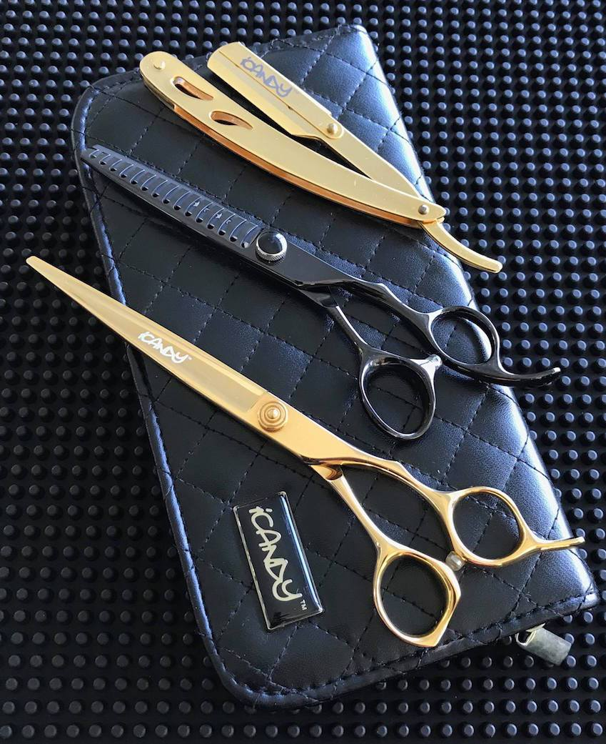 iCandy Taper Pro 7.0 & Elite Tex Midnight 6.0 Hairdressing Barbering Scissors Bundle