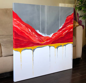 red and gray painting