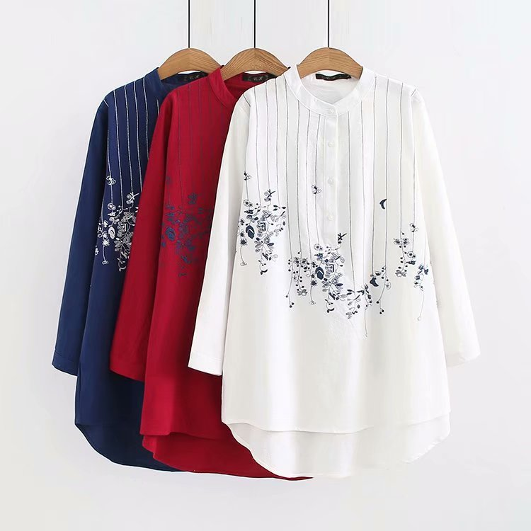 Plus Size Floral Embroidery Mandarin Collar Cotton Linen Long Sleeve Shirt Blouse (Blue, Red, White) (EXTRA BIG SIZE)