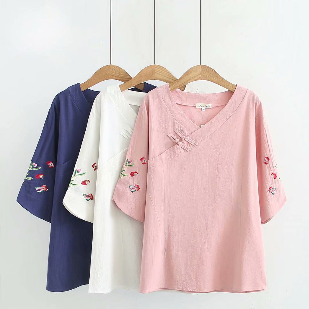 Plus Size Floral Embroidery V Neck Cheongsam Buttons Mid Sleeve Blouse (Blue, Pink, White) (EXTRA BIG SIZE)