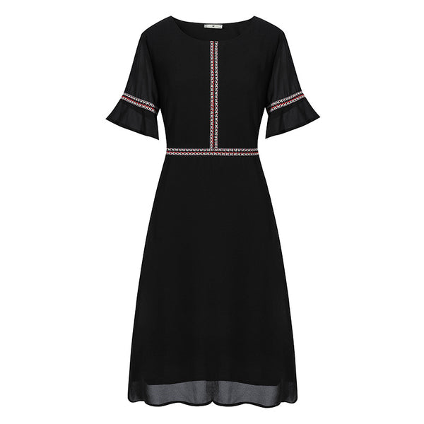 Plus Size Black Tassel Short Sleeve Dress