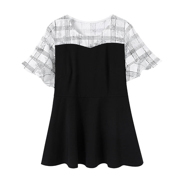 Plus Size Hex Lace Colourblock Short Sleeve Blouse