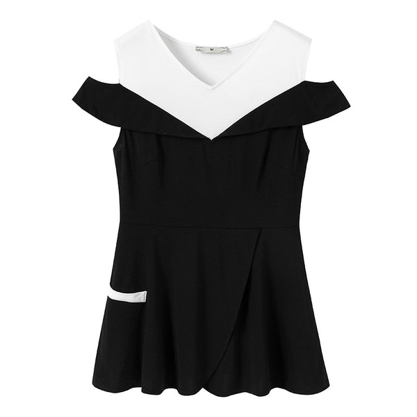 Plus Size Off Shoulder Monochrome Short Sleeve Blouse