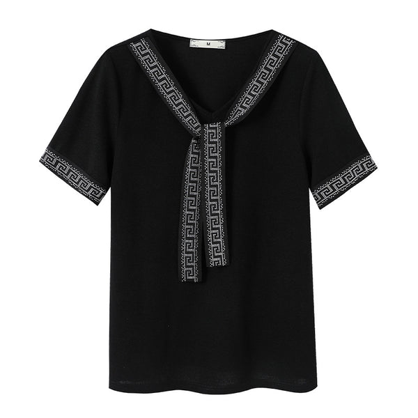 Plus Size Embellished Tie Short Sleeve Blouse