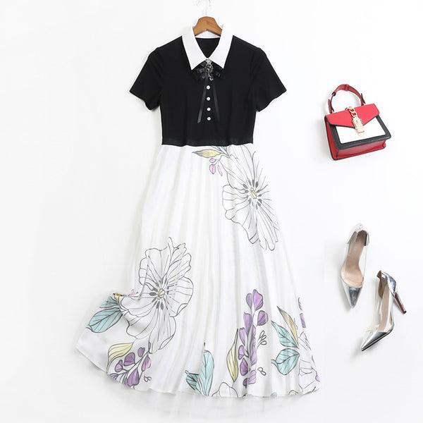 Plus Size Brooch Floral Monochrome Short Sleeve Midi Shirt Dress