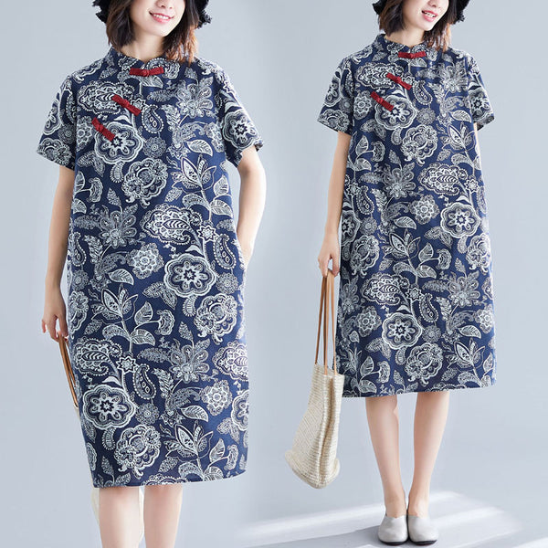 Plus Size Cheongsam Qipao Paisley Print Blue Short Sleeve Midi Dress