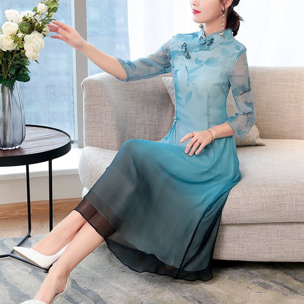 Plus Size Green Swing Floral Cheongsam Mid Sleeve Midi Dress