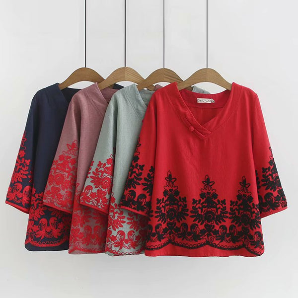 (Ready Stock Blue XL*1) Plus Size V Neck Floral Embroidery Cheongsam Button Cotton Linen Mid Sleeve Blouse (Light Green, Blue, Red, Pink) (EXTRA BIG SIZE)