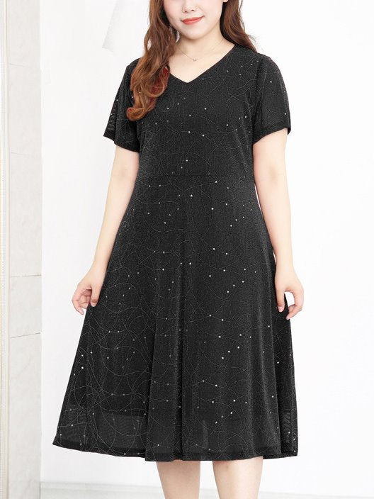 Kazimiera Plus Size Shimmer Knit V Neck Midi Dress (Black, Red)