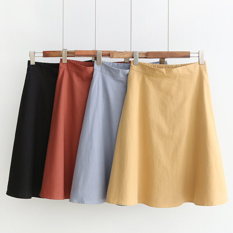Plus Size A Line Swing Basic Skirt (Black, Orange, Blue, Yellow)