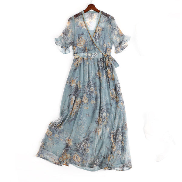 Plus Size Blue Floral Wrap Short Sleeve Midi Dress