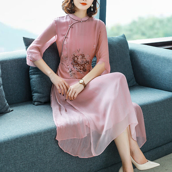 Plus size oriental floral cheongsam mid sleeve midi dress