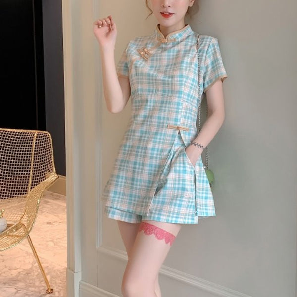 Plus Size Blue Checked Cheongsam Tunic Top and Shorts Set