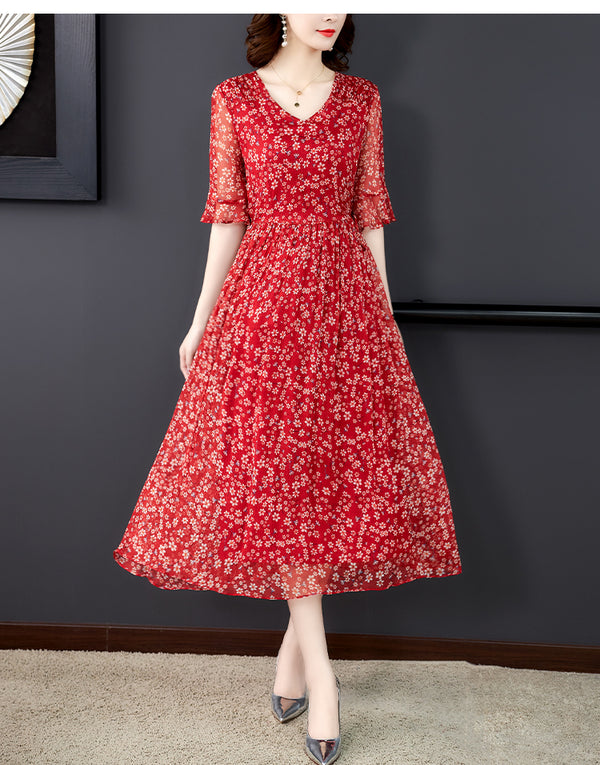 Plus Size Red Floral Chiffon Bell Sleeve Short Sleeve Midi Dress