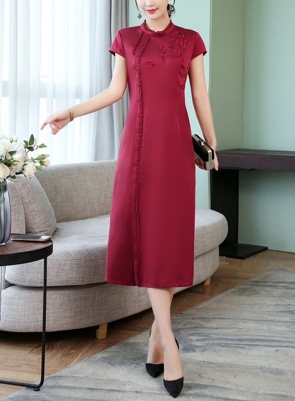 Plus Size Sheen Dark Red Cheongsam Short Sleeve Midi Dress