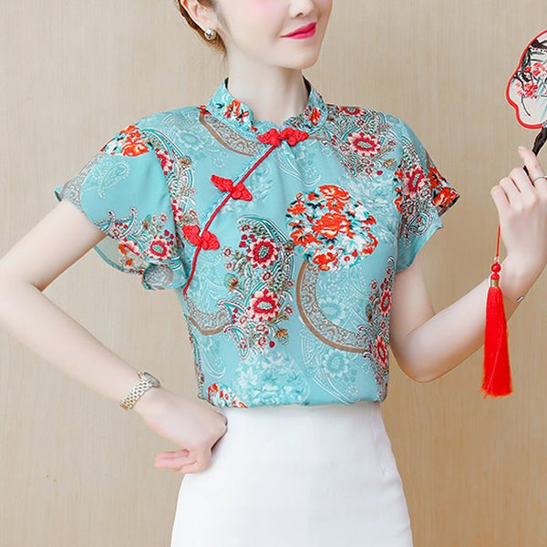 Plus Size Green Floral Cheongsam Short Sleeve Top