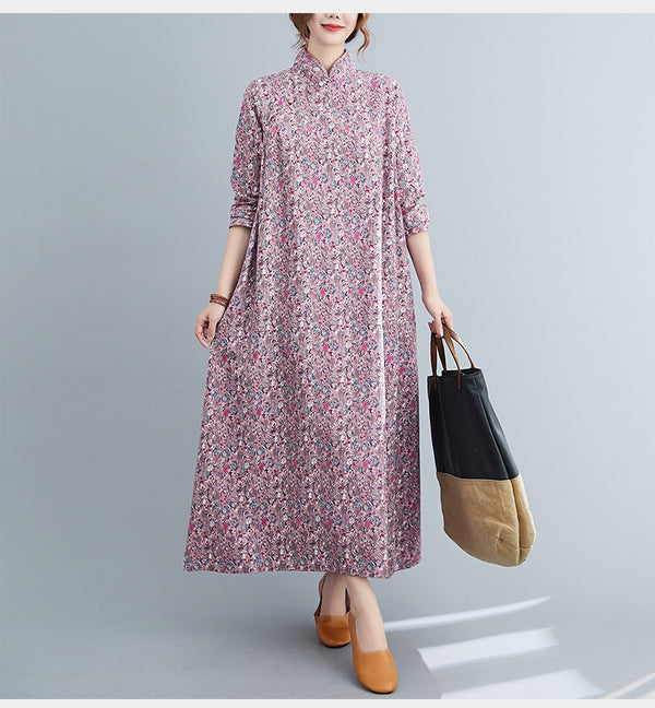 Plus Size Ditsy Floral Mid Sleeve Midi Dress Cheongsam