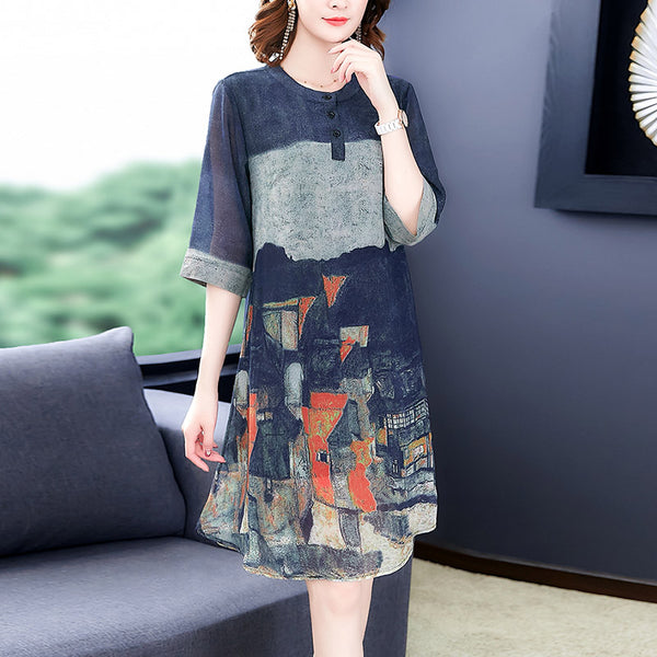 Plus Size Blue Art Print Mandarin Collar Mid Sleeve Dress