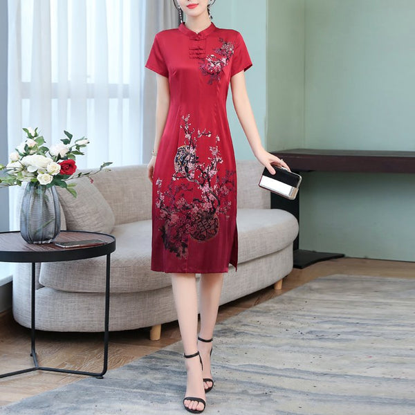 Plus Size Art Chinese Floral Red Cheongsam Short Sleeve Midi Dress