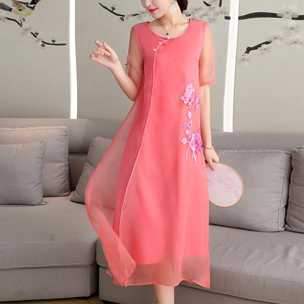 Plus Size Pink Organza Embroidery Cheongsam Short Sleeve Midi Dress