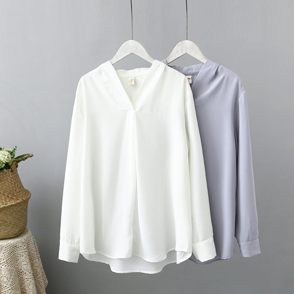 Plus Size V Neck Long Sleeve Blouse