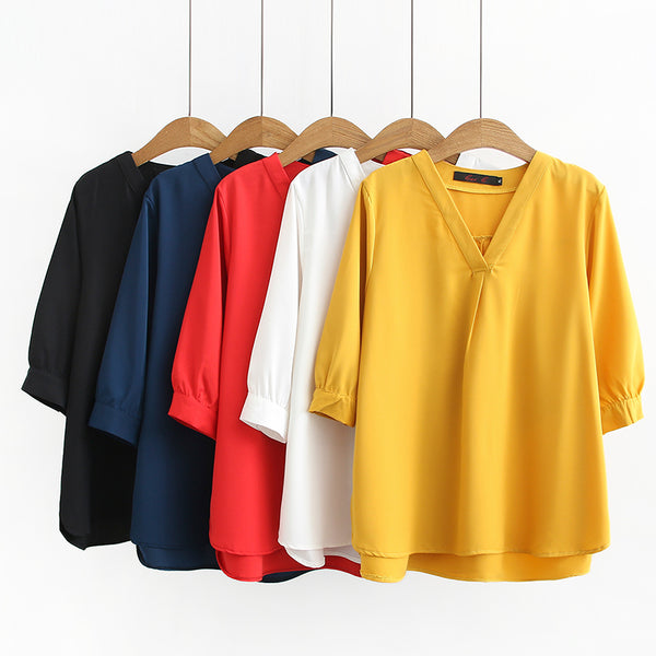 Plus Size V Neck Mid Sleeve Blouse